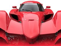 Angry red super race car - front view extreme closeup shot vector illustration