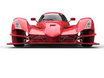 Angry red super race car - front view vector illustration