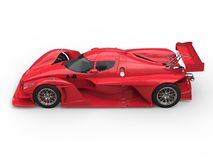 Angry red super race car - top down side view stock illustration
