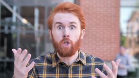 Angry Redhead Beard Young Man Yelling Outdoor. 4k high quality, 4k high quality stock video