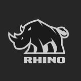 Angry rhino. Monochrome logo on a dark background. Stock Image