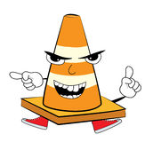 Angry Road cone cartoon Royalty Free Stock Image