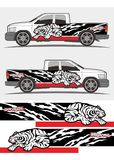 Angry roaring tribal tiger graphics decal designs for truck and van Stock Images