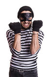 Angry robber with handcuffs. Portrait isolated on white background royalty free stock photos