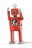Angry robot. Retro style clockwork angry robot Royalty Free Stock Image