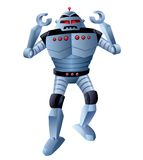 Angry Robot with Arms Up Walking Forward Stock Image