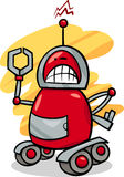 Angry robot cartoon illustration Stock Photos
