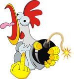 Angry rooster. With bomb isolated on withe Royalty Free Stock Image