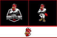 Angry rooster with kimono martial arts for MMA or wrestling club logo template vector illustration