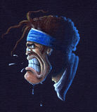 Angry rugby player. Acrylic illustration of an angry rugby player (portrait Stock Image