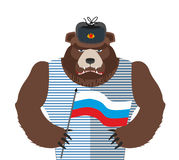 Angry Russian bear holding Russian flag. Beast patriot in fur ha Royalty Free Stock Photography