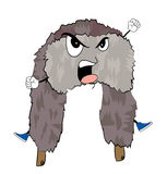 Angry russian fur hat cartoon Royalty Free Stock Photo