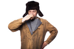 Angry russian man drink a vodka. Studio portrait isolated on white background Stock Images