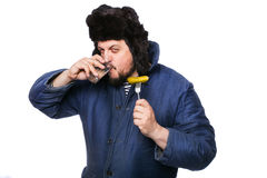 Angry russian man drink vodka. Studio portrait isolated on white background Stock Image