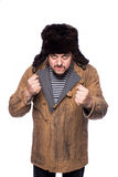Angry russian man ready for a fight. Studio portrait isolated on white background Stock Photography