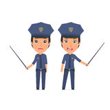 Angry and Sad Character Constabulary making presentation using p Royalty Free Stock Photos