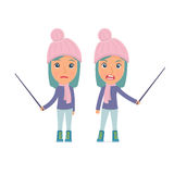 Angry and Sad Character Winter Girl making presentation using pointer Stock Image