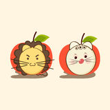 Angry and sad faces in the character of lion and cat. Stock Photos