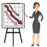 Angry sad unhappy business woman with graph down. Stock Image