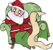 Angry Santa. With the list, holiday illustration Royalty Free Stock Photography