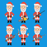 Angry Santa Claus Holding Weapons Stock Photos