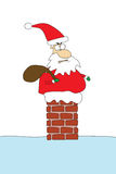 Angry santa stuck in chimney Royalty Free Stock Images