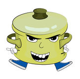 Angry saucepan cartoon Royalty Free Stock Photos