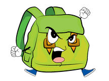 Angry school bag cartoon Stock Images