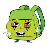 Angry school bag cartoon Stock Image