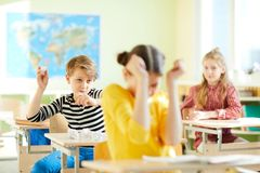Angry children at school Royalty Free Stock Images
