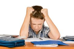 Angry schoolboy. With learning difficulties Royalty Free Stock Photo