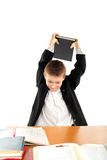 Angry schoolboy. Dissatisfied schoolboy on the exam Stock Photography