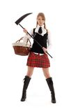 Angry schoolgirl with black sc. Ythe over white Stock Photo