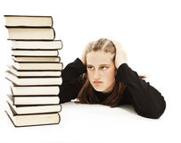 Angry schoolgirl with learning difficulties Stock Images