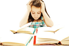 Angry schoolgirl with learning difficulties Royalty Free Stock Photos