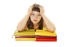 Angry schoolgirl with learning difficulties Stock Photos