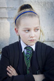 Angry schoolgirl Royalty Free Stock Photo