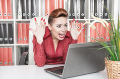 Angry screaming business woman Stock Photography