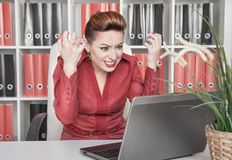 Angry screaming business woman Royalty Free Stock Images
