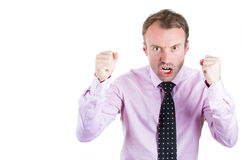 Angry, screaming businessman, boss, executive, worker, employee going through a conflict in his life. A close-up portrait of a angry, screaming businessman, boss royalty free stock photo