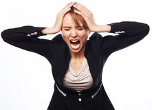Angry screaming businesswoman Stock Photography