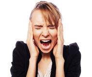 Angry screaming businesswoman. Stress and fatigue: angry screaming businesswoman. Isolated on white Royalty Free Stock Photo