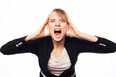 Angry screaming businesswoman Royalty Free Stock Photos