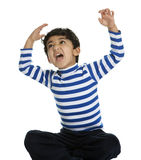 Angry and Screaming Child with Raised Arms. Isolated, White Stock Image
