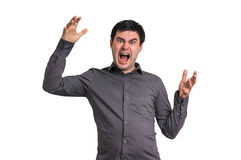 Angry and screaming man isolated on white Stock Photo