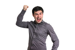 Angry and screaming man isolated on white Stock Photography