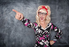 Angry screaming retro teacher pointing out Stock Photography