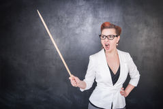 Angry screaming teacher with pointer on blackboard background. Angry screaming teacher with pointer on the chalkboard blackboard background royalty free stock image