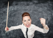 Angry screaming teacher with pointer Royalty Free Stock Photo
