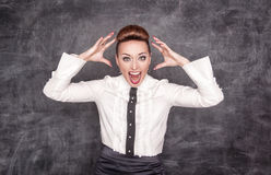 Angry screaming teacher Royalty Free Stock Photos